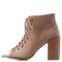 Taupe Lace-Up Peep Toe Booties by Charlotte Russe