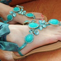 Mint Jeweled Sandals with Ribbon