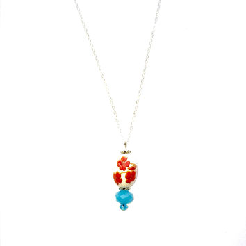 Thao Ha Flower Porcelain Coral and Aqua Pendant