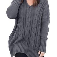Cotton Gray Oversized Cozy up Knit Sweater