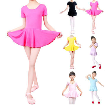 Super Kid Girls Short Sleeve Leotard Gymnastics Cotton Ballet Dance Dress Dance wear