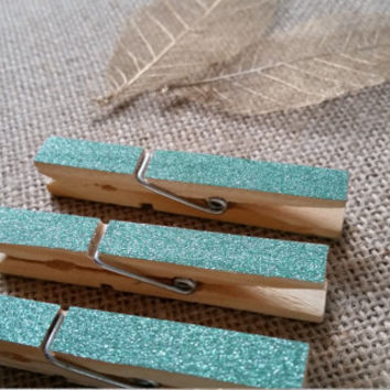 10 Chic Decorated Glittered Wooden Pegs