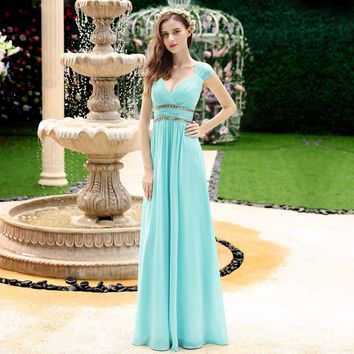[Clearance Sale] Old Size Ever Pretty Evening dresses EP08697 Women's Beautiful Elegant  Sexy  White V neck Long Prom Dresses