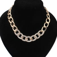 Streetstyle  Casual Rhinestone Chain Gold Necklace