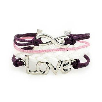 Infinity Love Bracelet (Purple  Pink and White)