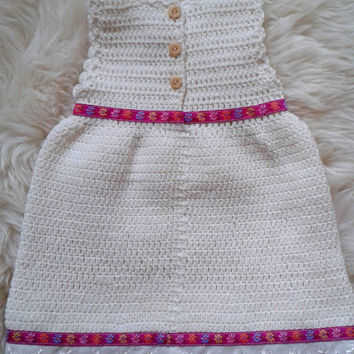 Ivory crochet newborn baby dress, bringing baby home dress, coming home outfit for baby girl,baby crochet dress,photo prop,baby girl clothes