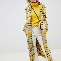 Glamorous longline coat in bright check at asos.com