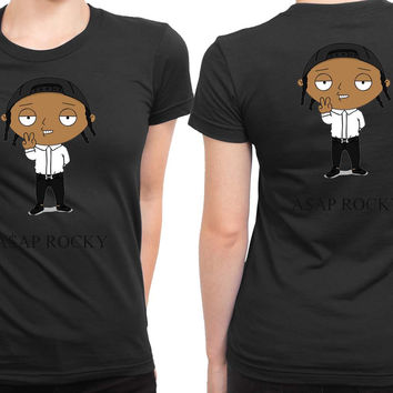 Asap Rocky In Funny Cartoon 2 Sided Womens T Shirt