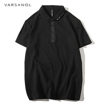 Men Polo Shirts Men Business Casual solid male polo shirt Short Sleeve breathable polo shirts