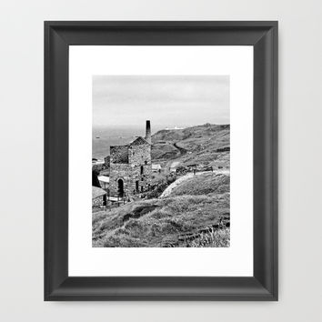 Levant Tin Mine Black And White Framed Art Print by Linsey Williams