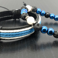 Men's Bracelet Set- Stone Beaded bracelet with matching leather band-08