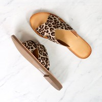 coco criss cross faux suede slip on flat sandals - leopard