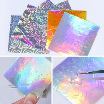 Ultra-thin Laser Wave Line 3D Nail Sticker Holo Vinyls Sawtooth Stripe Tape Foil Decal DIY Nail Art Decorations