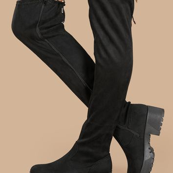 Stretch Over The Knee Platform Boots With Lug Sole