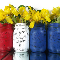 Tabletop Decor - Red, White and Blue, Hand Painted Mason Jar Vase Set -- Rustic, Country Home Decor