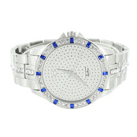 Iced Out Metal Band Watch Blue Ruby Look