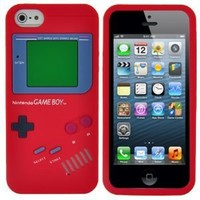 Red Nintendo Gameboy Game Boy Style Soft Silicone Case Back Cover Skin For iPhone 5 5G 5th