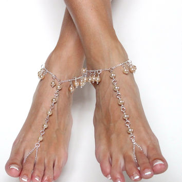 Champagne Silver Chained Barefoot Sandals