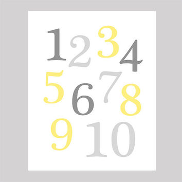 Instant Download Numbers Yellow and Grey Print CUSTOM COLORS Animals digital nursery decor art baby room decor print digital download 8x10