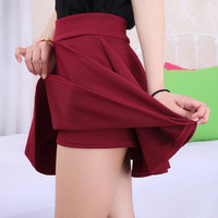 2015 Korean Women Fashion Skirt High Waist Pleated Skirt Spring and Autumn Fashion Dresses = 1946649604