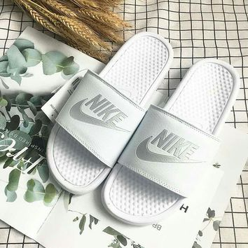 """Nike"" Summer Unisex Fashion Letter Slippers Couple Home Sandals Flats Shoes"