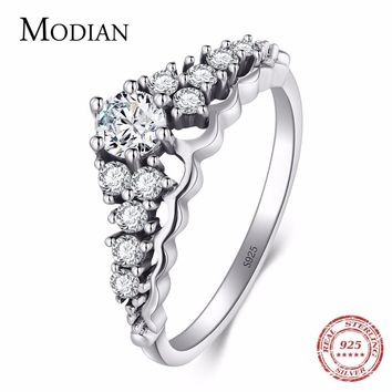 Modian New Authentic 100% 925 Sterling Silver Crown Rings Fashion Classic Stackable Ring Vintage For Women Wedding Engagement