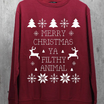 Merry Christmas Ya Filthy Animal Maroon Shirt Sweatshirt Sweater Hoodie Hoodies Unisex