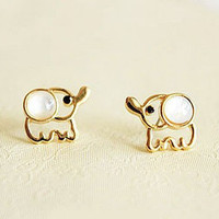 Beige Opal Elephant Earrings