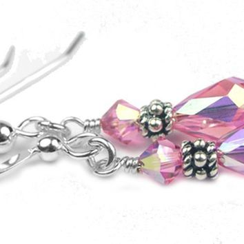 Silver Dangle Earrings October Birthstone Rose (Pink Tourmaline) Swarovski Crystals