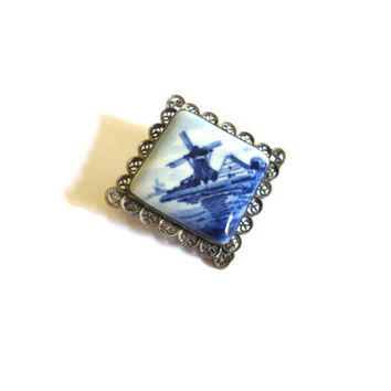 Silver Filigree Windmill Delft Holland Brooch