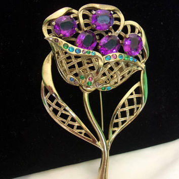 LN 50 Art Deco Brooch Vintage Purple Glass Rhinestone Flower Filigree Brass Pin