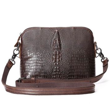 Genuine Leather Alligator Messenger Shoulder Shell Vintage Handbag - Small Oil Wax Cowhide Handbag