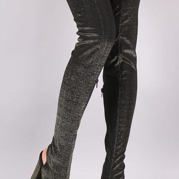 Bamboo Foiled Metallic Elastane Chunky Heeled Over-The-Knee Boots