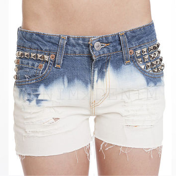 Women's Lucy Short Vintage Levi Ombre Bleach Studded Cut Off Ripped Shorts