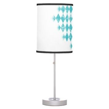 Distressed Aqua Blue Argyle Table Lamp