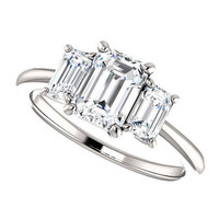 kennedy ring - forever brilliant moissanite engagement ring, 1 carat, emerald cut