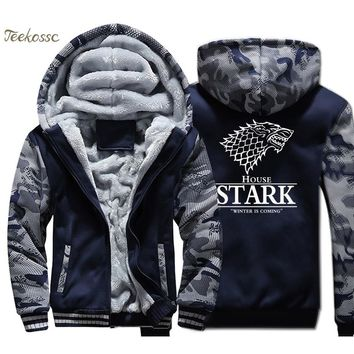 Game of Thrones Hoodie Men House Stark Hooded Sweatshirt  A Song of Ice and Fire Coat Thick Fleece Warm Camouflage Wolf Jacket