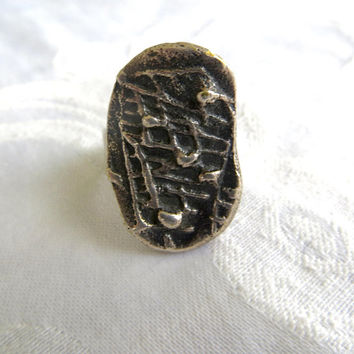 Vintage Modernist Sterling Ring, Dimensional Adjustable Ring, Mid Century Jewelry, Size 8