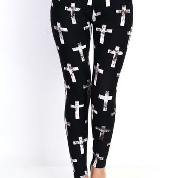 VINTAGE BLACK CROSS PRINT LEGGINGS