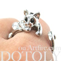Relaxing Kitty Cat Animal Wrap Around Ring in Shiny Silver - Sizes 4 to 9 Available