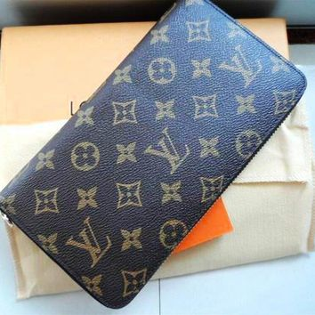 LV Fashion Hot Selling Men's and Women's General Handbags Chequered Long Zipper Wallet LV pattern coffee