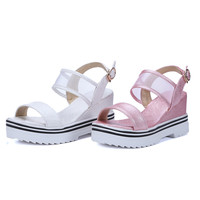 Summer Paillette Sandals Wedges Platform High-heeled Shoes Woman