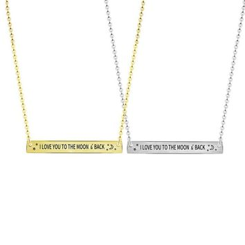 "Modern Dainty ""I LOVE YOU TO THE MOON AND BACK"" Necklace Simple Design Horizontal Bar Necklaces Minimalist Gift for Best Friend"