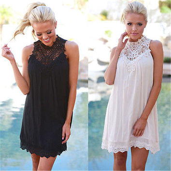 Sexy Womens Summer Casual Sleeveless Boho Loose Ladies Beach Knee  Dress Sundress