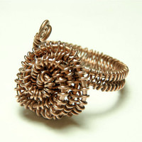 steampunk rose wire ring  copper wire rose  flower ring by keoops8