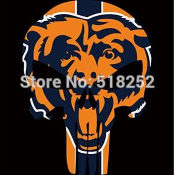 Chicago Bears Skull Vertical Flag 150X90CM NFL 3x5 FT Banner 100D Polyester Custom flag grommets 6038,free shipping