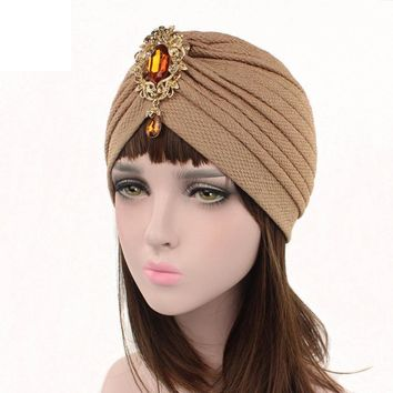 New Arrival Women Cancer Chemo Hat Beanie Casual Soft Cotton Winter Caps Shine Crystal Decoration Popular Hats
