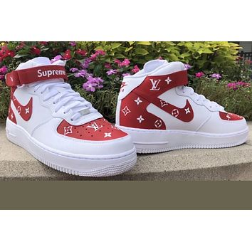 "Supreme airforce ones mid L V"" (with front and back tab) Customs red"