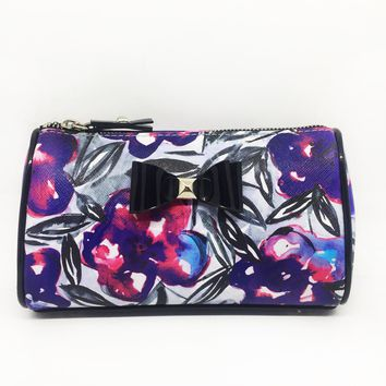 Purple Floral Bow Small Cosmetic Bag
