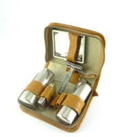 Vintage Compact Russian Small Travel Shaving Set, Father's day Gift  Father Gift Mens' gift Fift For Him Leather case